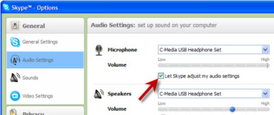 Let Skype adjust my audio settings