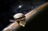 Artist's concept of New Horizons probe during planned encounter with Pluto and its moon, Charon.