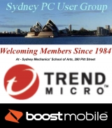 Sydney PC User Group - Tuesday January 24 Main Meeting, Trend Micro and Boost Mobile