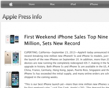 Apple sets new iPhone 5s and 5c sales record: 9 million sold in first 3 days
