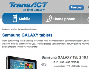 TransACT offers Samsung Galaxy Tab 2 tablets on 3G plans