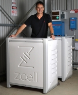 Google's Alan Noble with the ZCell battery at his Willunga property