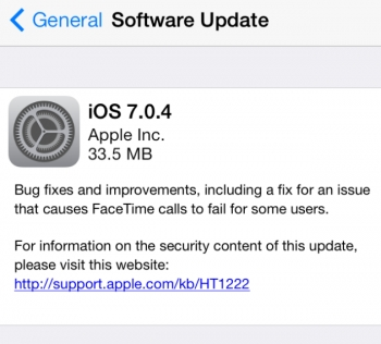 iOS 7.0.4 update and other Apple news