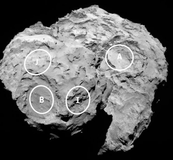 """This annotated image depicts four of the five potential landing sites for Rosetta's Philae lander."""