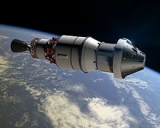 Rendering of Orion capsule and Delta 4 upper-stage during EFT-1