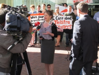 Protests outside Telstra's AGM