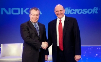 Nokia's Stephen Elop with Microsoft's Steve Ballmer