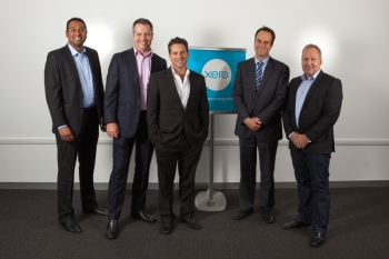 Left to right: Gavin Fernandes, Key Accounts Manager Xero, Ben Shields, Partner Deloitte, Chris Ridd, Managing Director, Xero, David Hill, National Managing Partner, Deloitte, Rod Drury, CEO, Xero