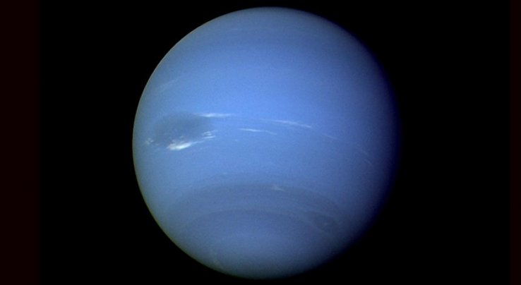 Voyager 2 takes continuous photograph of Neptune during August 16 and 17, 1989.