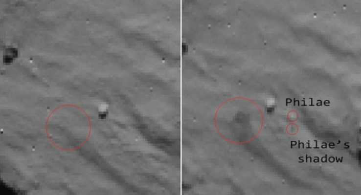 Images that ESA believe depict Philae striking and then bouncing up from the comet's surface.