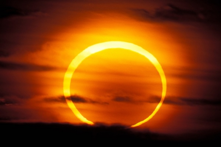 "A ""ring of fire"" annular solar eclipse as seen in 2012"