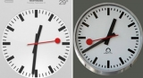 Apple clock left - SBB railway clock right