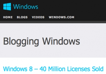 Windows 8 license sales hit 40 million, 15m users