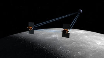 Artist's interpretation of the GRAIL tandem spacecraft above the lunar surface