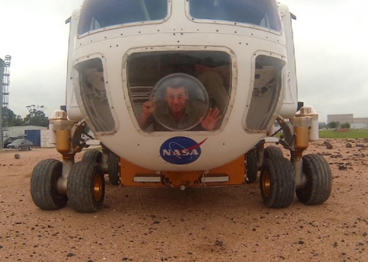 Roving the simulated surface of the Moon or Mars in NASA's concept space explorer