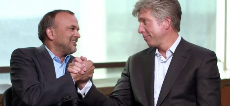 Concur CEO Steve Singh with SAP CEO Bill McDermott