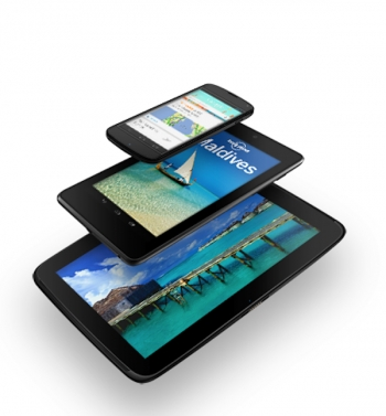 Google's new Nexus 4 smartphone and Nexus 7 and 10 tablets.