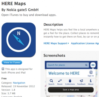 Nokia's Here Maps app for iOS