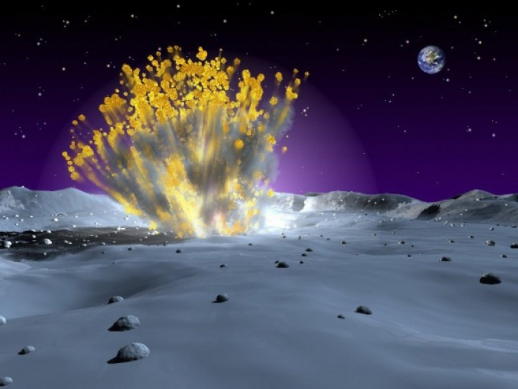An artist illustration of a meteor impacting the moon and resulting in an explosion that can be visible from Earth skies.