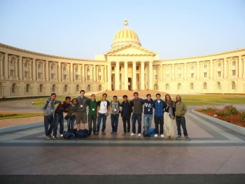 Some InStep interns at the Mysore campus in front of the Murthy Centre of Excellence
