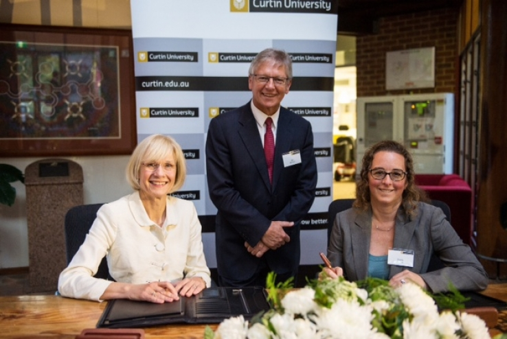 Curtin University Vice-Chancellor Professor Deborah Terry; Minister Bill Marmion and edX President Wendy Cebula