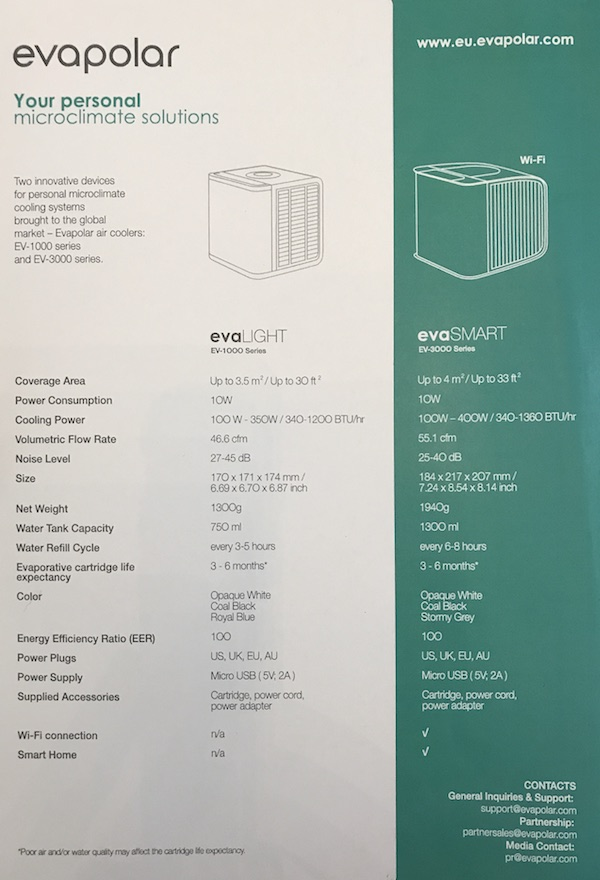 Evapolar spec sheet comparison