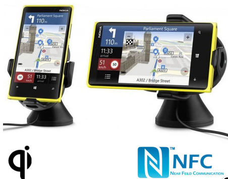 bb748045ee0 Nokia has a CR-201 Qi car holder - NFC is used to launch pre-configured  applications (like Here+ Navigation) on docking. This  108.49 device is  typical ...