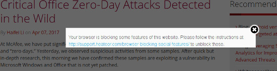 McAfee wants privacy block disabled.