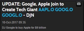Google buys Apple: fake news, courtesy of Dow Jones