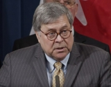 US Attorney-General William Barr addressing the media at the Department of Justice on Thursday.
