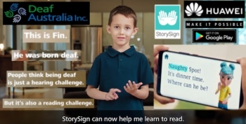 VIDEO: Huawei's StorySign app now supports Auslan, Emma 'Yellow Wiggle' Watkins is ambassador