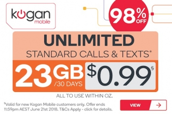 Kogan Mobile's keener catch: new customers get any of Kogan's plans for 99c