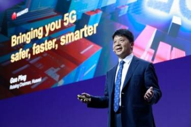 Huawei rotating chairman Guo Ping during his keynote to MWC in Barcelona.