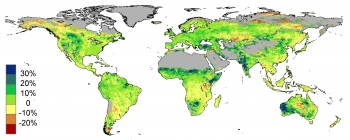 Satellite data shows the per cent amount that foliage cover has changed around the world from 1982 to 2010.