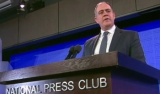 David Anderson addressing the National Press Club on Wednesday.