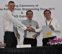 Martin Wiktorin, president and country manager for Singapore, Brunei & Philippines, Ericsson, Soh Wai Wah, principal and chief executive, Singapore Polytechnic and Mark Chong, Group chief technology officer, Singtel, at the launch of the 5G facility.