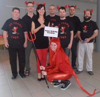 FreeBSD developers in Hungary celebrating the 20th birthday of the operating system.