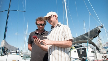 Cameron Harris (left) of Beacon Marine Electronics and John McDermott (right) of BoatSecure, a new venture using Spark's LoRa network technology to let boat owners monitor their vessels in real-time