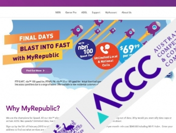 ACCC fines MyRepublic for NBN speed claims