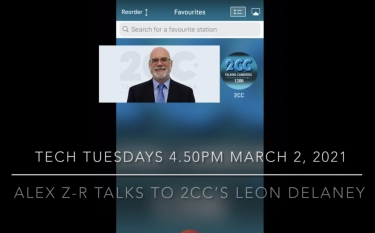 A photo of Leon Delaney superimposed on the RadioApp app