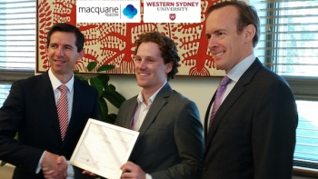 Scholarship Winner Jacob Pace with Senator Simon Birmingham and Macquarie Telecom exec Aiden Tudehope.