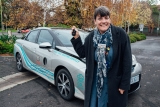 Moreland Mayor Cr Natalie Abboud with Toyota Australia's hydrogen fuel cell powered Mirai