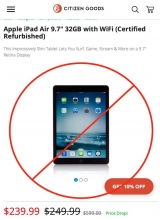 Don't buy the Citizen Goods refurb iPad Air for US$240, get the new iPad for US$329 instead