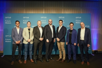 2018 Optus Future Makers (L-R): Rory Darkin, Michael Metcalfe, Chris Boyle, Chris Smeed, Rick Martin, Michael Tozer and Dr Stefan Schutt.