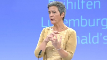 Margrethe Vestager addressing Wednesday's media conference in Luxembourg.