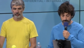 Google co-founders Larry Page and Sergey Brin taking questions from staff at a meeting soon after Donald Trump was elected.