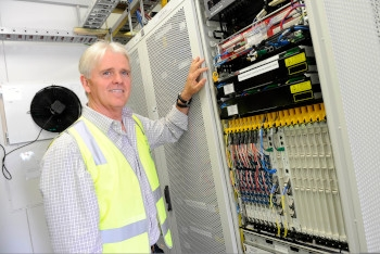 NBN Co chief executive Bill Morrow at a point-of-interconnent in Mount Cotton, Queensland, in 2016.