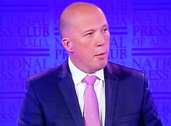 Peter Dutton addressing the National Press Club in Canberra on Wednesday.