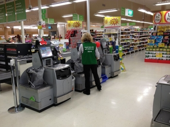 An early self-checkout system at a Coles supermarket