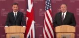Jeremy Hunt and Mike Pompeo addressing a media conference in London on Wednesday.